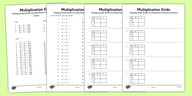 Multiplying 2 Digit Numbers By 2 Digit Numbers Using Grid