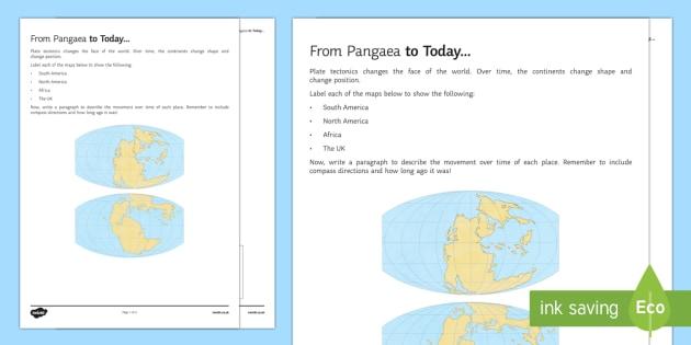 Pangaea To Today Worksheet Worksheet