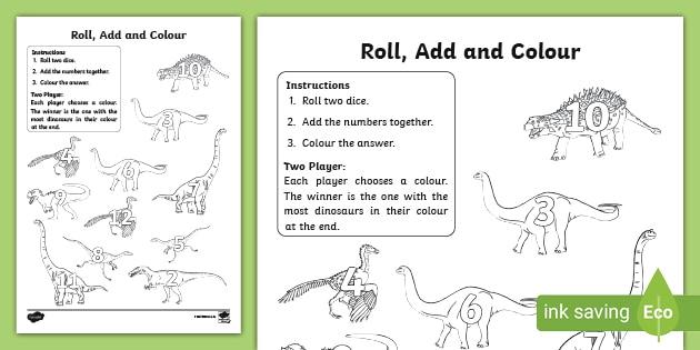 Dinosaur Color And Roll Worksheet Worksheet Teacher Made