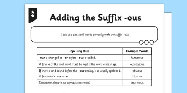 Adding The Suffix Ous Differentiated Worksheet