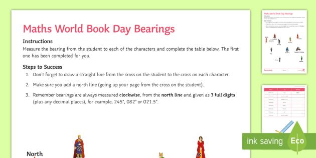 Maths World Book Day Bearings Worksheet