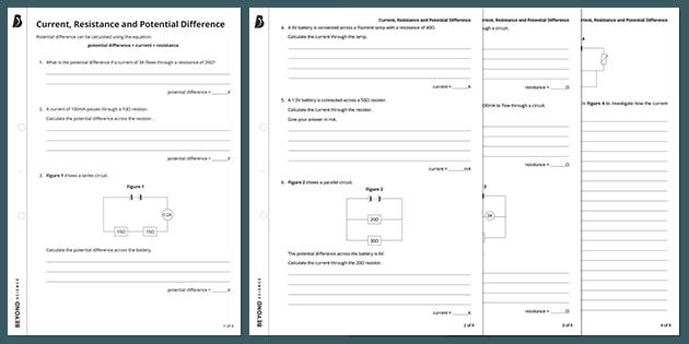 GCSE Physics Current, Resistance and Potential Difference Worksheet