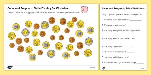 Coins In Piggy Bank Euros Worksheets