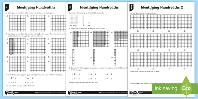 Identifying Hundredths Differentiated Worksheet Worksheets