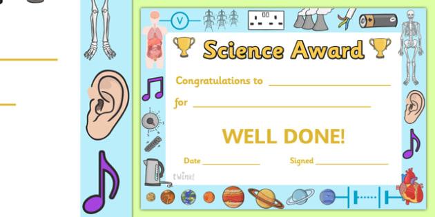 Free Science Award Certificate Teacher Made