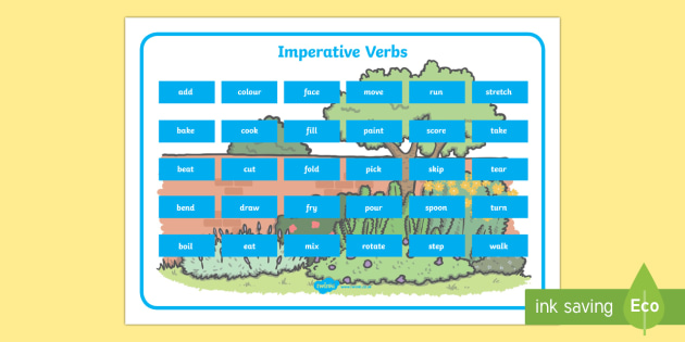 Imperative Verbs Word Mat Teacher Made