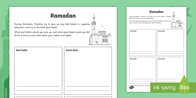 Ks2 Ramadan Good Deeds And Bad Habits Worksheet Activity