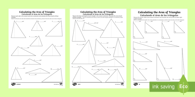 Differentiated Calculating The Area Of Triangles Worksheets