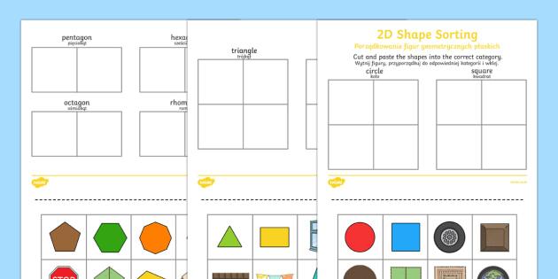 2d Shape Sorting Worksheet Worksheet English Polish