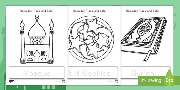 Ramadan Trace And Color Activity Teacher Made