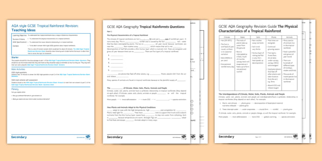 AQA-Style Tropical Rainforests Revision Activity Pack