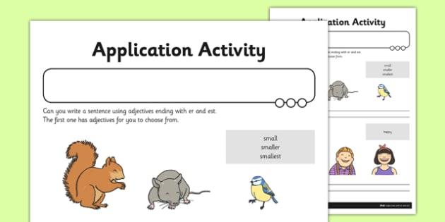 Adjectives With Er And Est Application Worksheet