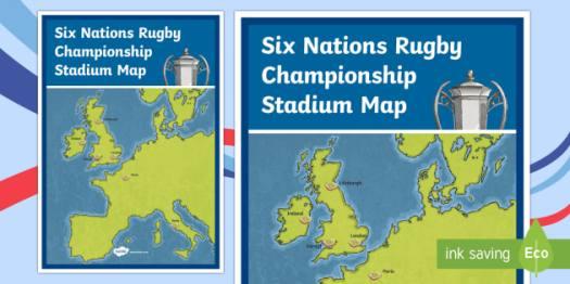 Six Nations Rugby Championship Stadium Map-Scottish