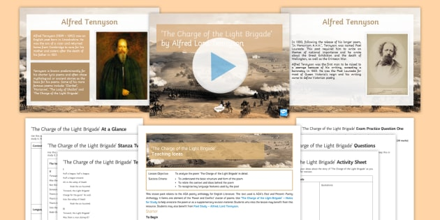 GCSE Poetry Lesson to Support Teaching on The Charge of the Light Brigade by Alfred, Lord Tennyson