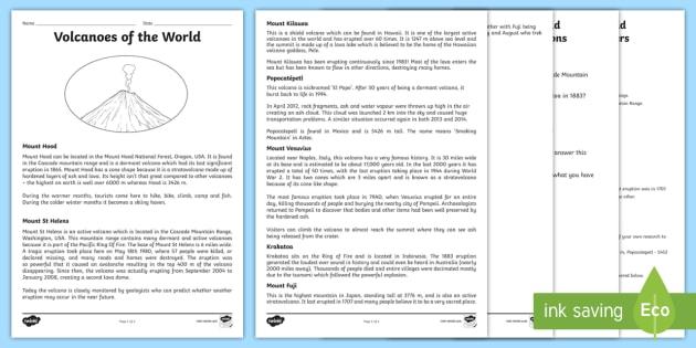 Volcanoes Worksheet