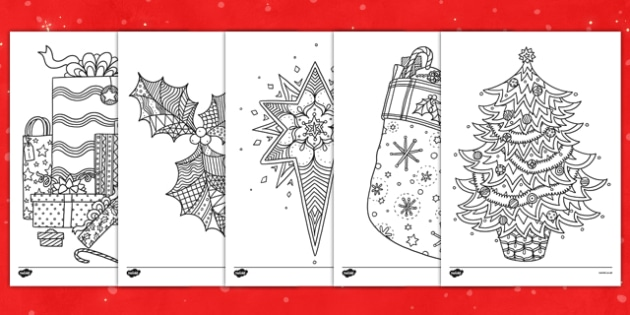 Christmas Themed Mindfulness Colouring Sheets Colouring