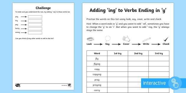 Year 2 Spelling Practice Adding Ing To Verbs Ending In
