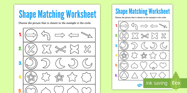 Visual Perception Shape Matching Worksheet Teacher Made
