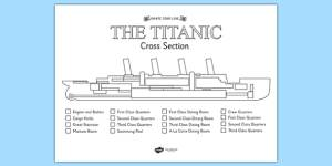 FREE!  The Titanic Cross Section Colour Labelling Worksheet  titanic
