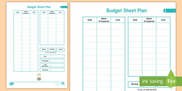 New Home Educator Budget Sheet Plan