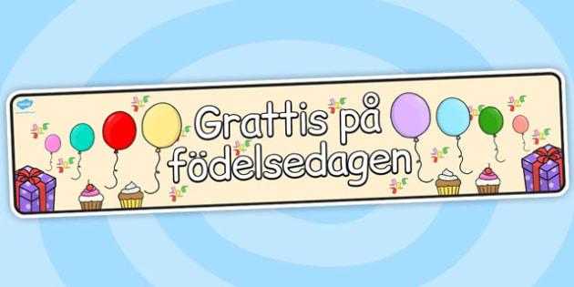 Swedish Happy Birthday Display Banner Teacher Made