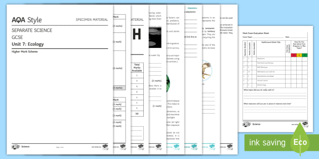 AQA GCSE Separate Science Ecology Higher Assessment Pack