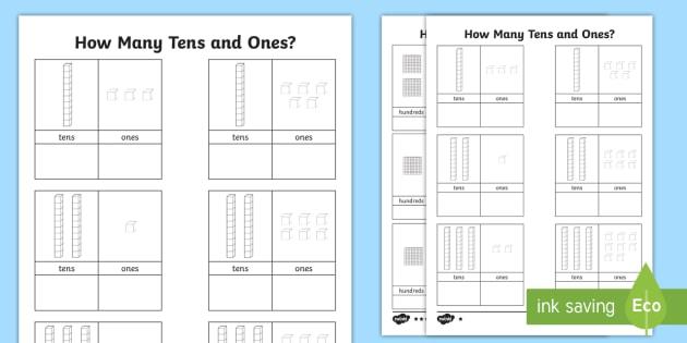 Tens And Ones Worksheet Teaching Math Kindergarten First Grade