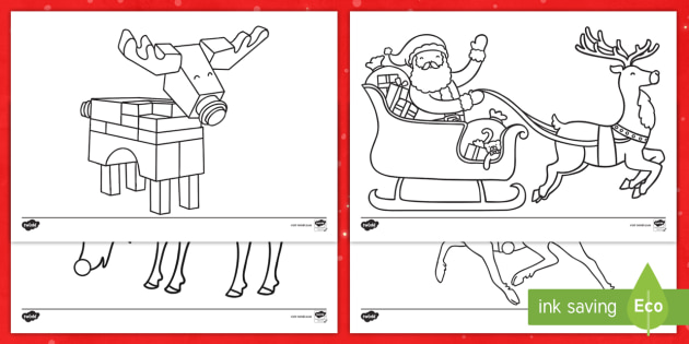 Rudolph And Reindeer Coloring Pages Worksheet Teacher Made