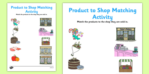 Product To Shop Matching Worksheet Activity Sheet Pack