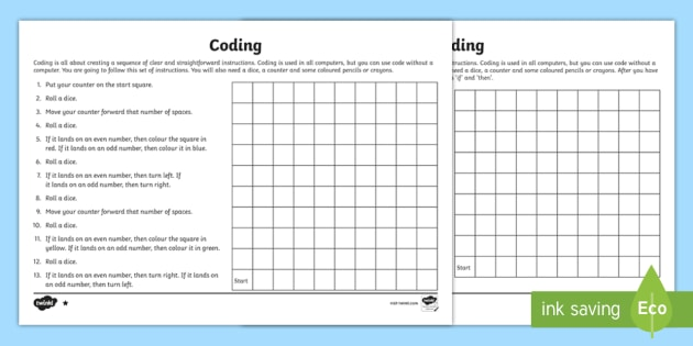 Ks2 Coding Differentiated Worksheets