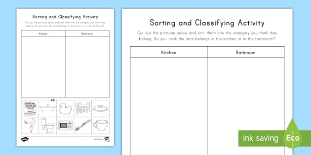 Sorting Amp Classifying Worksheet Worksheet Teacher Made