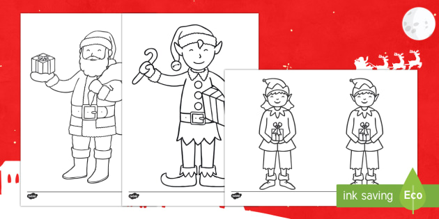Santa And His Elves Colouring Page Teacher Made