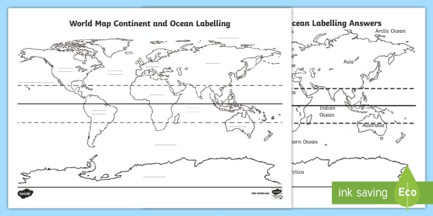 World Map Continent And Ocean Labelling Worksheet