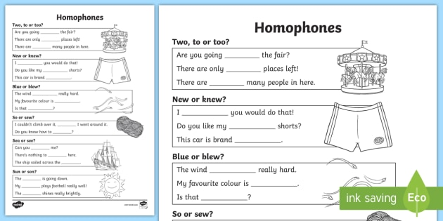 Ks2 Speech And Language Homophones Worksheet Teacher Made