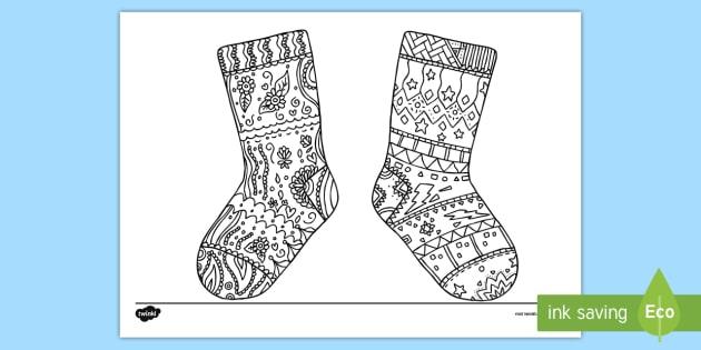 odd socks mindfulness coloring page  stripes stars key