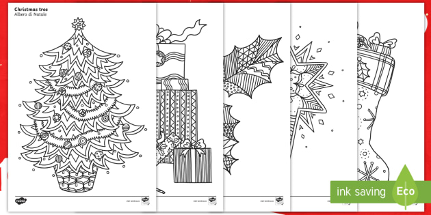 Christmas Themed Mindfulness Coloring Sheets English Italian