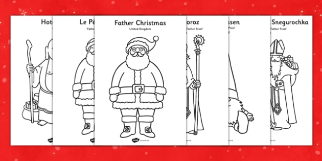 Father Christmas Around The World Coloring Sheets Coloring