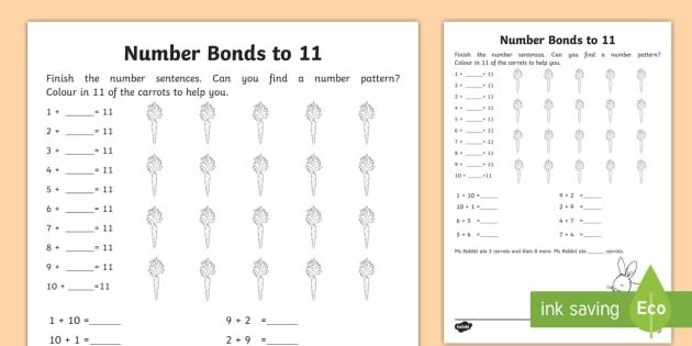Number Bonds Within 20 Bonds To 11 Worksheet Worksheet