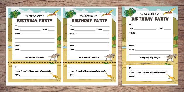 dinosaur birthday invitations twinkl