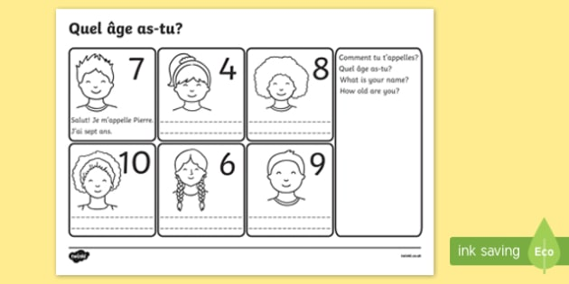 Free Say Your Age French Worksheet Worksheets France