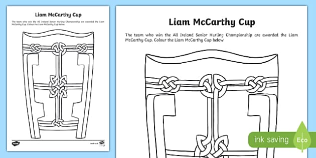 Liam McCarthy Cup Colouring Worksheet Activity Sheet Irish