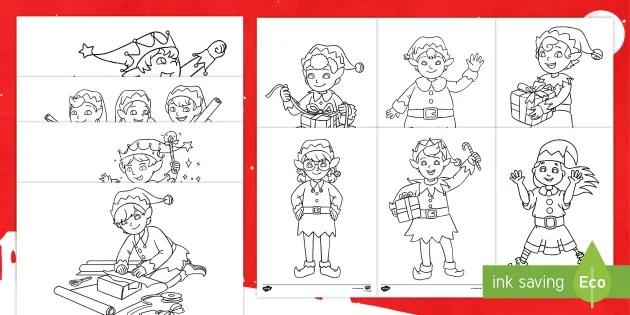 Christmas Elf Colouring Sheets
