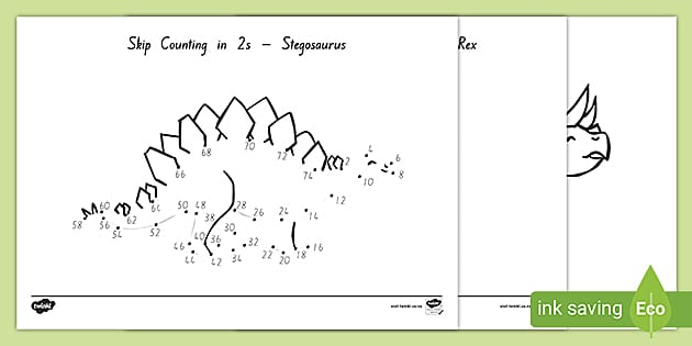Stage 4 Skip Counting In 2s Dinosaur Dot To Dots