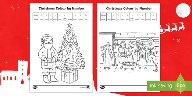 Christmas Themed Coloring By Number Coloring Pages