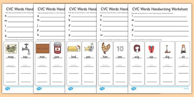 Cvc Words Handwriting Worksheets