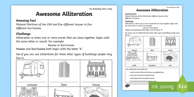 Awesome Alliteration Worksheet For Kids Teacher Made