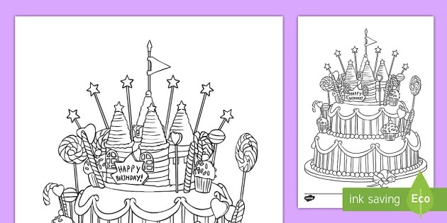 Birthday Cake Colouring Page For Kids Happy Birthday