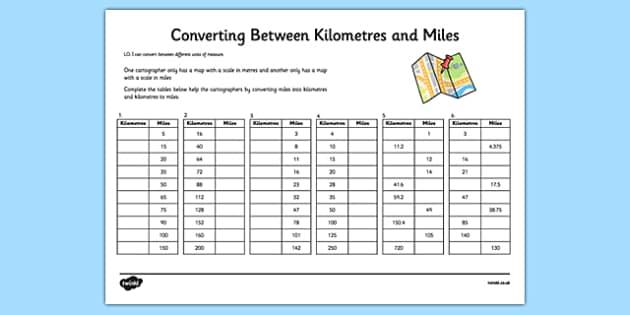 Physics Conversion Chart Km Miles