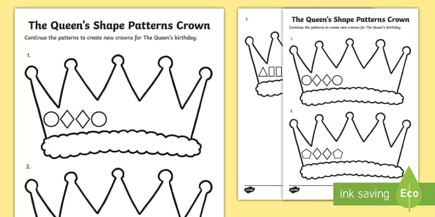 The Queens Shape Patterns Crown Worksheet Activity