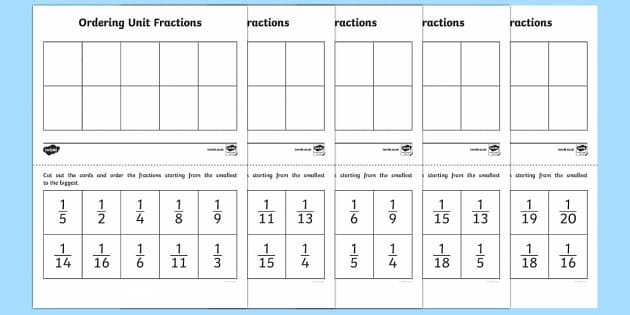 Ordering Unit Fractions Activity